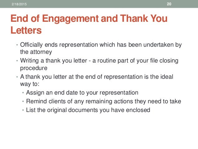 Law office management for paralegals 2182015 19 20 end of engagement and thank you expocarfo