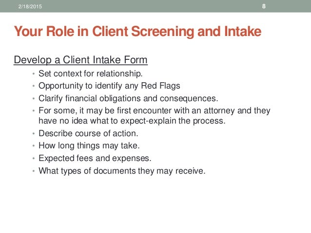 an introductory client intake interview