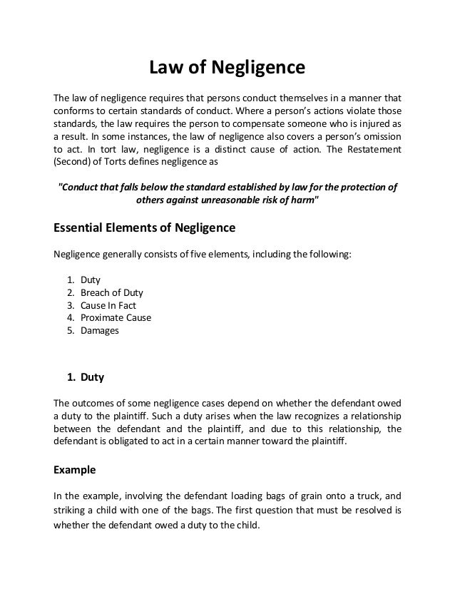 negligence tort and legal duty Revision note on duty of care and negligence free study and revision resources for law students (llb degree/gdl) on tort law and the english legal system.