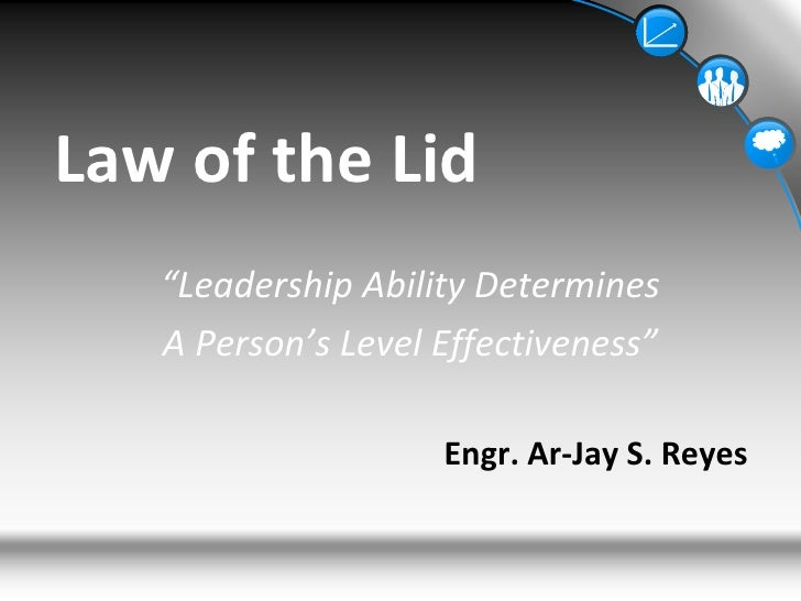 """Law of the Lid<br />""""Leadership Ability Determines<br />A Person's Level Effectiveness""""<br />Engr. Ar-Jay S. Reyes<br />"""