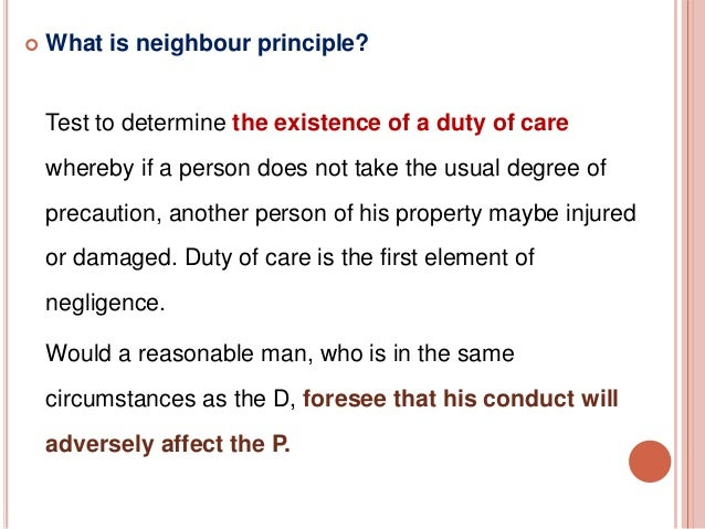 principles for implimenting duty of care essay Some principles of teaching home economics 7 its duty of care to all its members, their interdependence and the need for them to help one another.