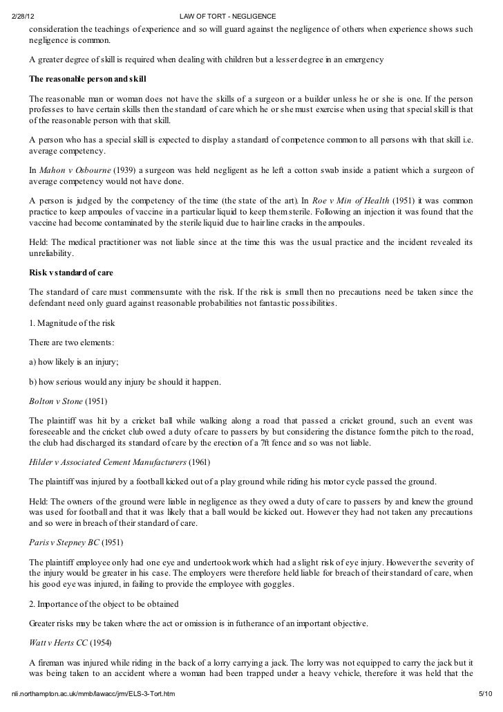 Negligence Essays (Examples)