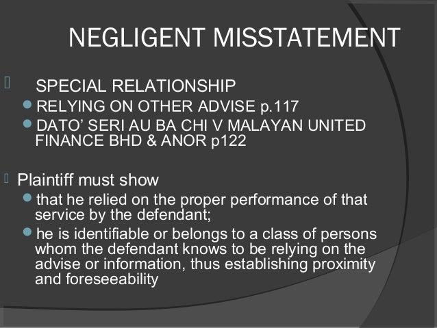 tort of negligent misstatement