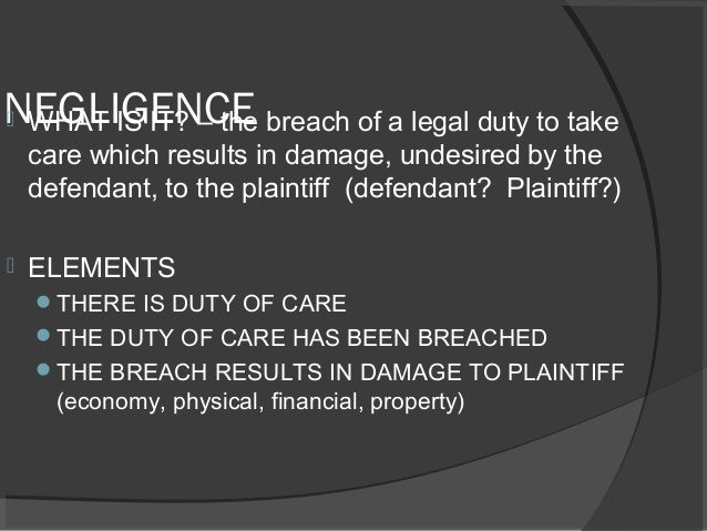 law of negligence An overview of the law of negligence detailing the main legal requirements of a negligence claim with links to further information on each requirement.
