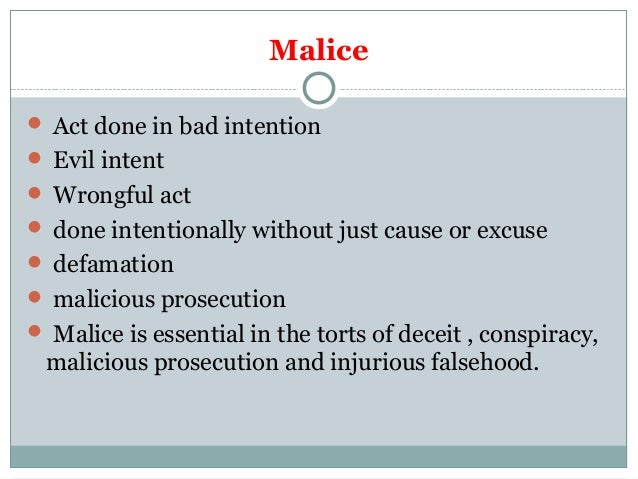 Malice Law and Legal Definition