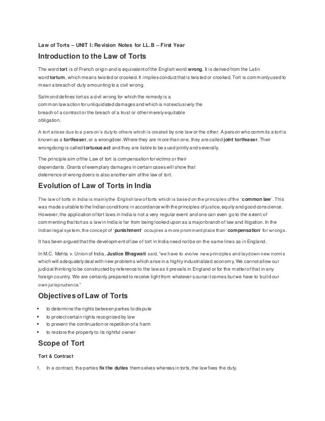 tort law revision notes pdf