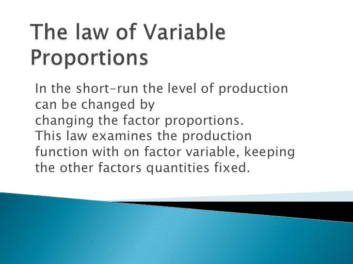 the law of variable proportions