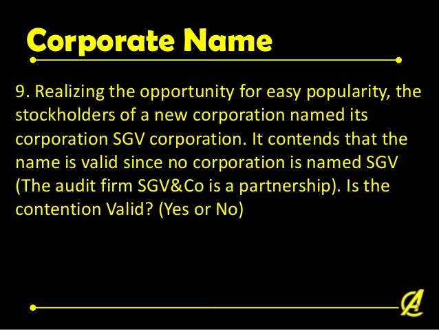 Corporate Name • Sec. 18. Corporate name. - No corporate name may be allowed by the Securities and Exchange Commission if ...
