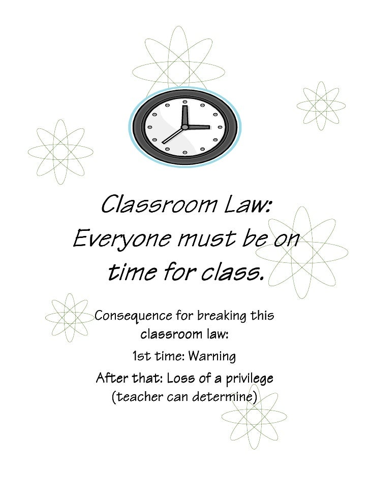 Classroom Law: Everyone must be on    time for class.  Consequence for breaking this         classroom law:        1st tim...