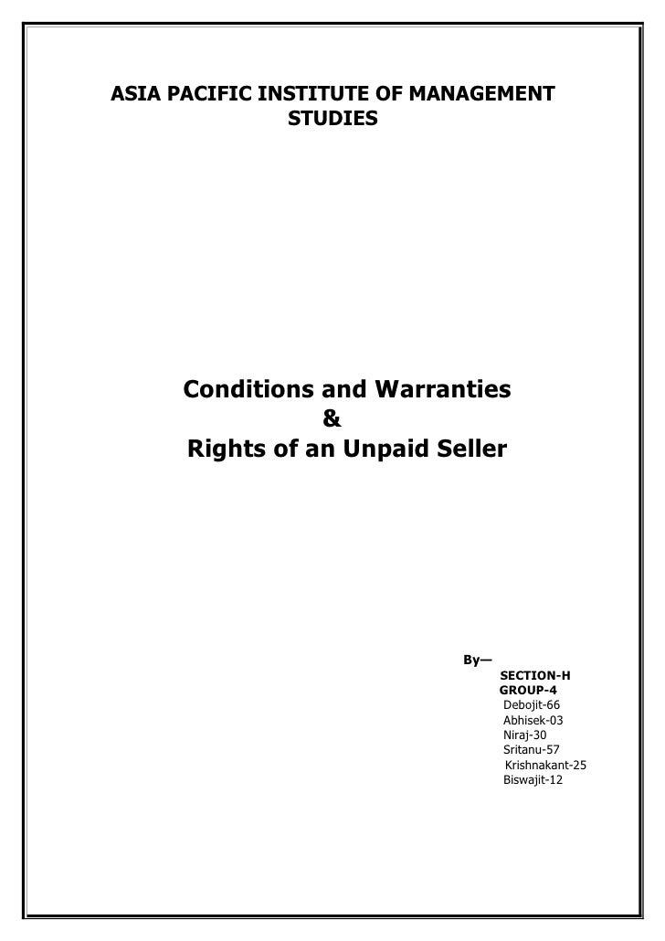 ASIA PACIFIC INSTITUTE OF MANAGEMENT                STUDIES          Conditions and Warranties                 &      Righ...