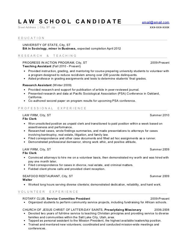 Law school sample resume