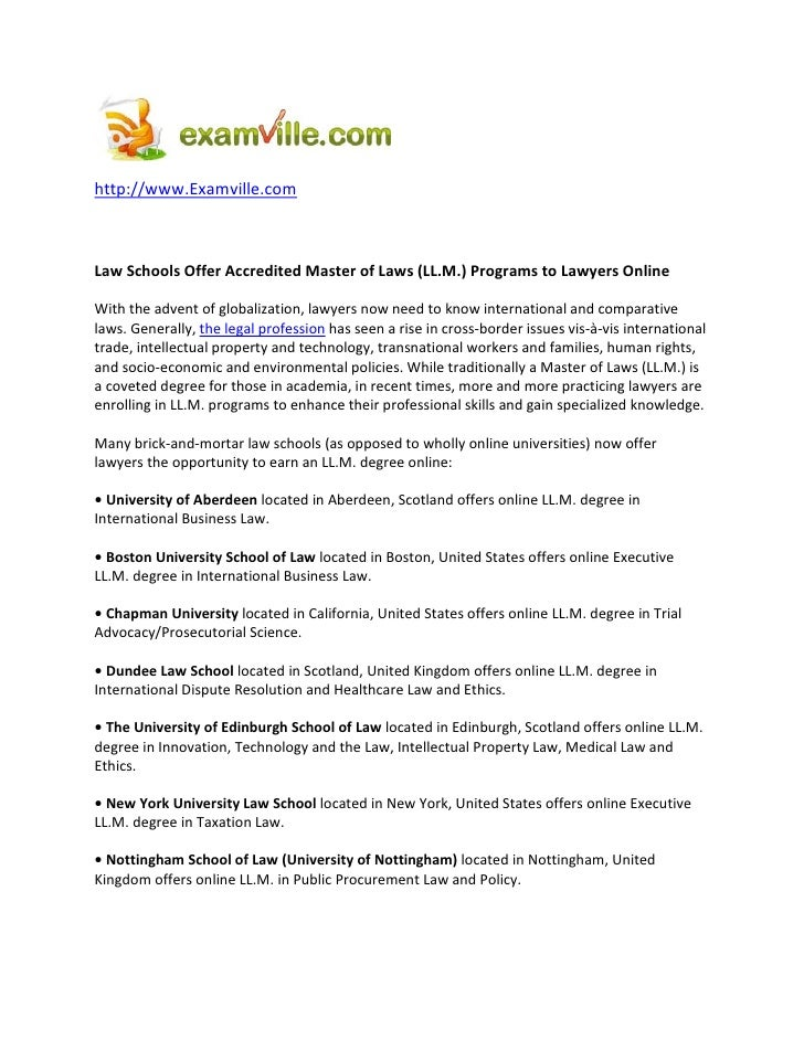 http://www.Examville.com    Law Schools Offer Accredited Master of Laws (LL.M.) Programs to Lawyers Online  With the adven...