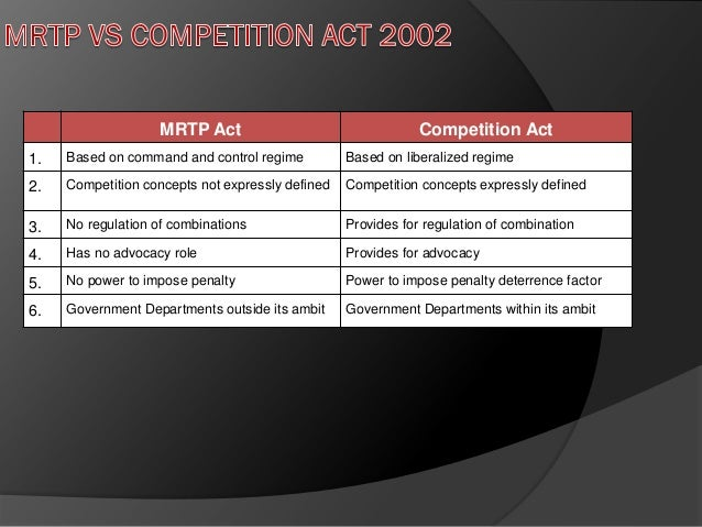 competition act in india Competition law in india a report on jurisprudential trends june 2015  prior to the operationalization of the competition act in may 2009, mrtp act was the.