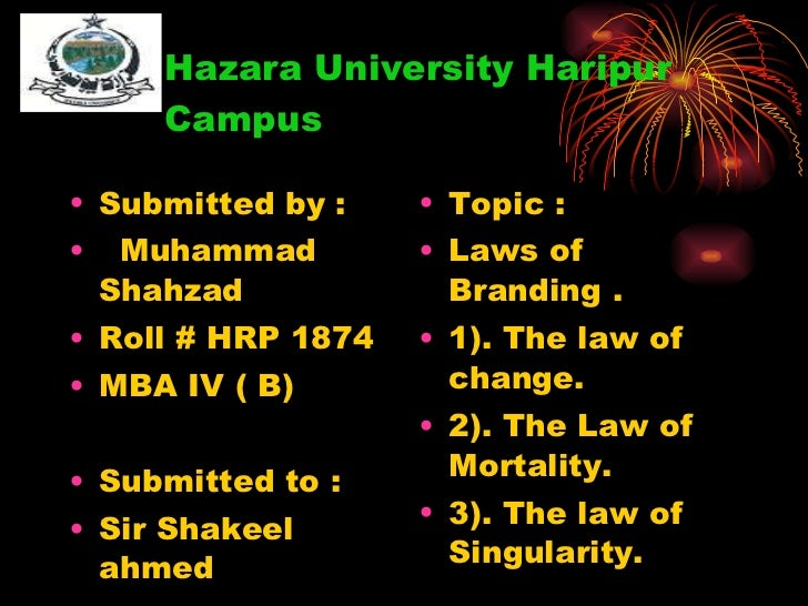 Hazara University Haripur    Campus <ul><li>Submitted by : </li></ul><ul><li>Muhammad Shahzad </li></ul><ul><li>Roll # HRP...