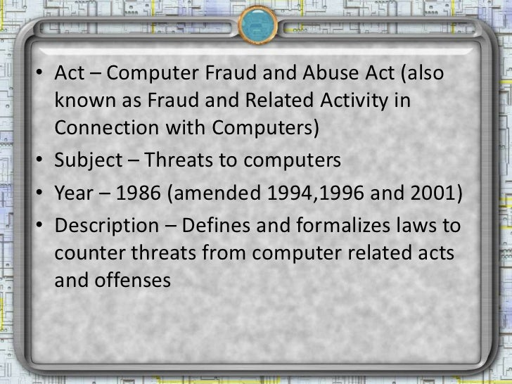 Laws of interest to security professionals Slide 3