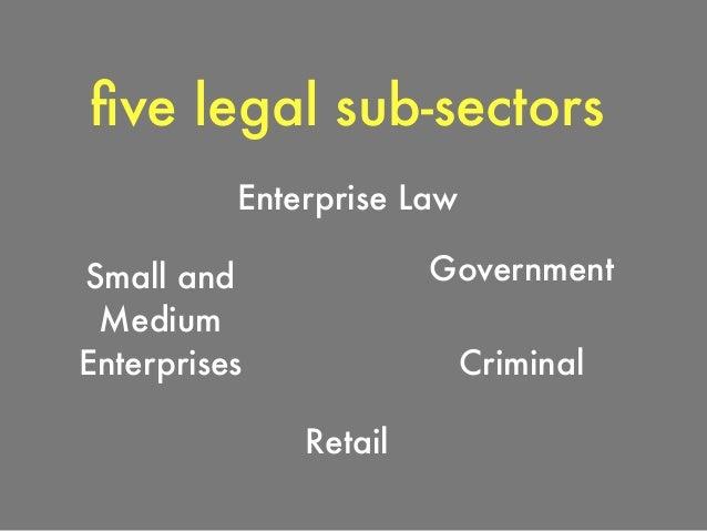 Enterprise Law statistics via Bill Henderson Size of Market $150 billion Number of Potential Clients 40,000