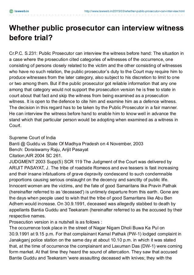 lawweb.in http://www.lawweb.in/2015/03/whether-public-prosecutor-can-interview.html Whether public prosecutor can intervie...