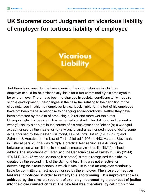 lawweb in uk supreme court judgment on vicarious liability of employe  lawweb in lawweb in 2016 04