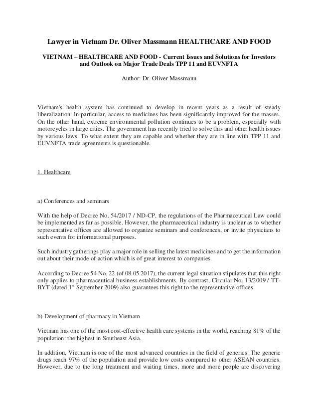 Lawyer in Vietnam Dr  Oliver Massmann HEALTHCARE AND FOOD