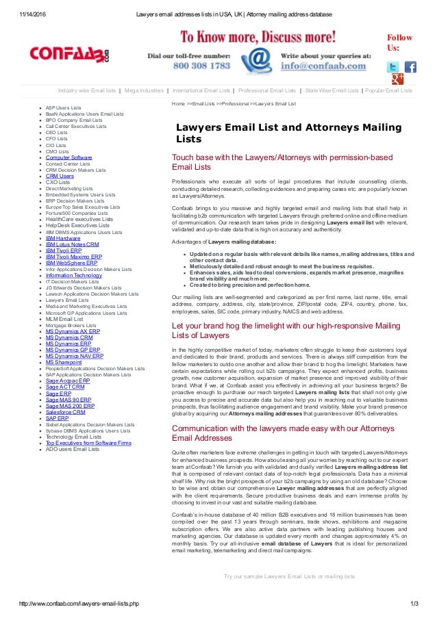Lawyers Email Addresses