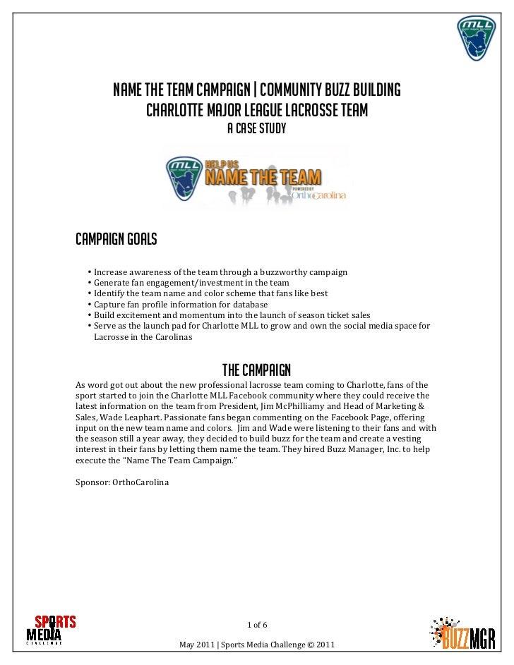 Name the team campaign   community buzz building               Charlotte major league lacrosse team            ...