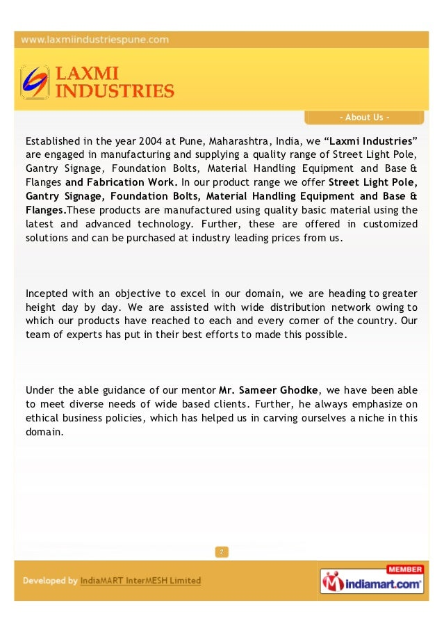 """- About Us -Established in the year 2004 at Pune, Maharashtra, India, we """"Laxmi Industries""""are engaged in manufacturing an..."""