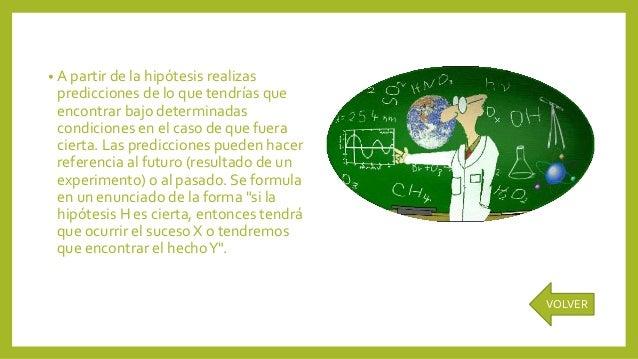 • A partir de la hipótesis realizas predicciones de lo que tendrías que encontrar bajo determinadas condiciones en el caso...