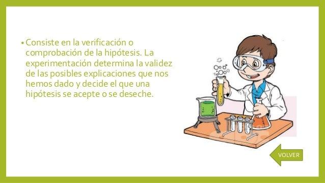 • Consiste en la verificación o comprobación de la hipótesis. La experimentación determina la validez de las posibles expl...