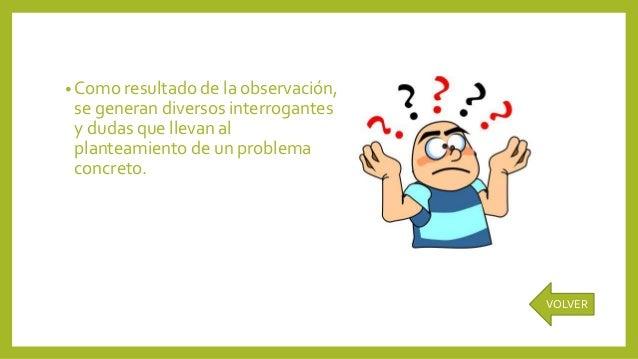 • Como resultado de la observación, se generan diversos interrogantes y dudas que llevan al planteamiento de un problema c...