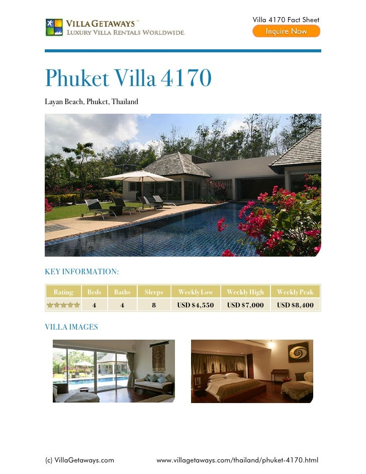 Villa 4170 Fact SheetPhuket Villa 4170Layan Beach, Phuket, ThailandKEY INFORMATION:  Rating     Beds    Baths      Sleeps ...