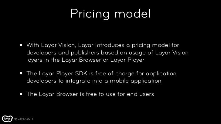 Pricing model   •   With Layar Vision, Layar introduces a pricing model for       developers and publishers based on usage...