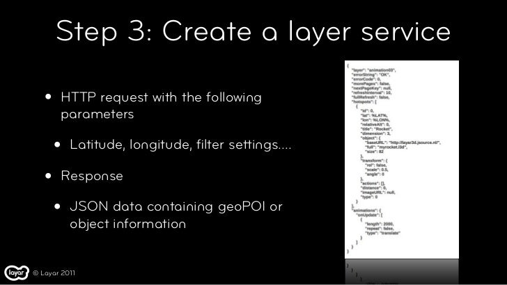 Step 3: Create a layer service   •   HTTP request with the following       parameters       •   Latitude, longitude, filter...