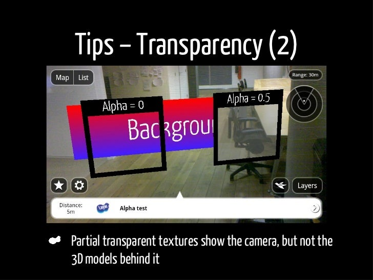 Tips – Transparency (2)     Partial transparent textures show the camera, but not the 3D models behind it