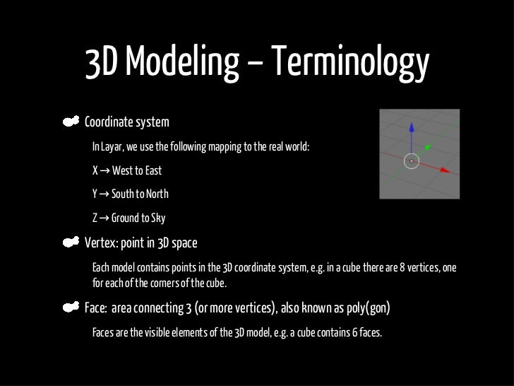 3D Modeling – Terminology     Coordinate system •    In Layar, we use the following mapping to the real world:  •    X → W...