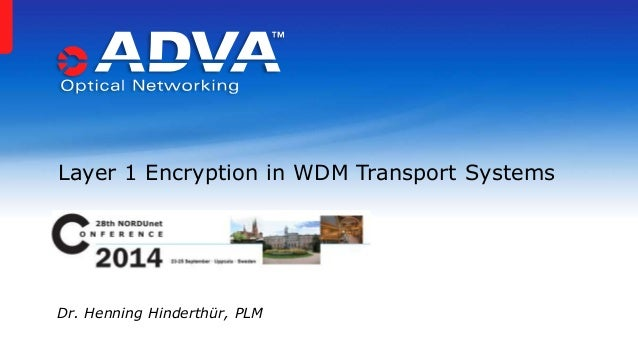 Layer 1 Encryption in WDM Transport Systems Dr. Henning Hinderthür, PLM