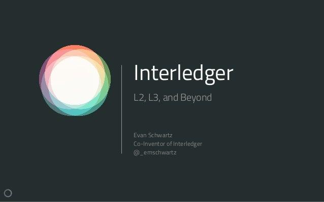 Interledger L2, L3, and Beyond Evan Schwartz Co-Inventor of Interledger @_emschwartz