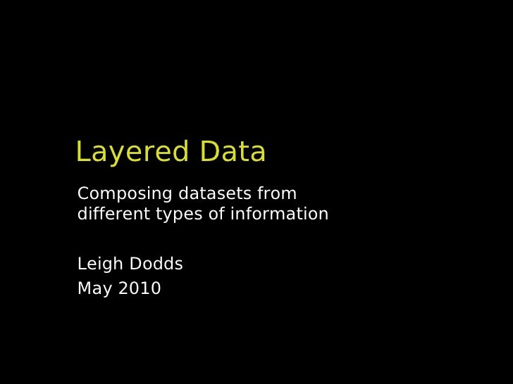 Layered DataComposing datasets fromdifferent types of informationLeigh DoddsMay 2010