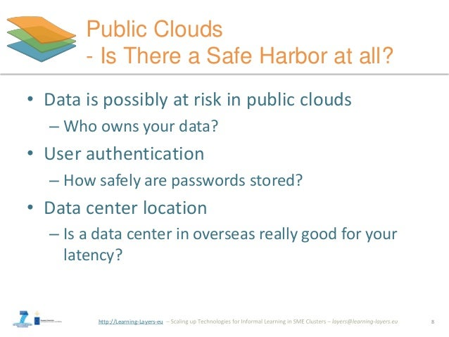 http://Learning-Layers-eu Public Clouds - Is There a Safe Harbor at all? • Data is possibly at risk in public clouds – Who...