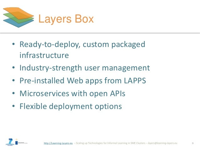 http://Learning-Layers-eu Layers Box • Ready-to-deploy, custom packaged infrastructure • Industry-strength user management...