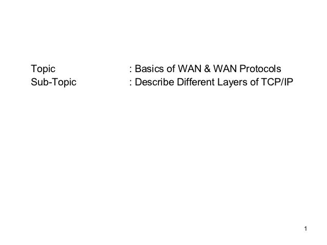 Topic       : Basics of WAN & WAN ProtocolsSub-Topic   : Describe Different Layers of TCP/IP                              ...