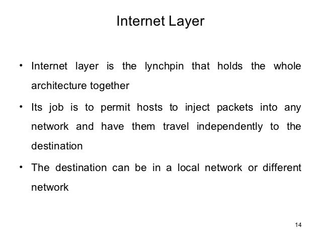 Internet Layer⢠Internet layer is the lynchpin that holds the whole  architecture together⢠Its job is to permit hosts to ...