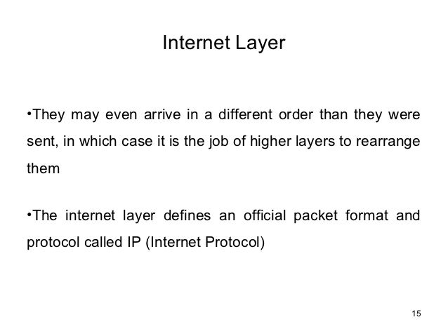 Internet Layerâ¢They may even arrive in a different order than they weresent, in which case it is the job of higher layers ...