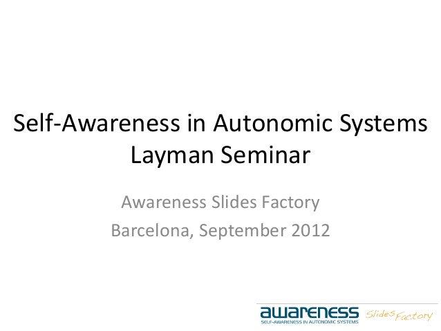 Self-Awareness in Autonomic Systems Layman Seminar Awareness Slides Factory Barcelona, September 2012