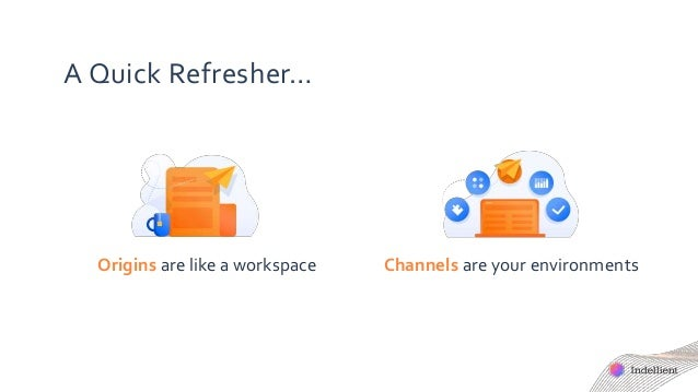 A Quick Refresher… Origins are like a workspace Channels are your environments