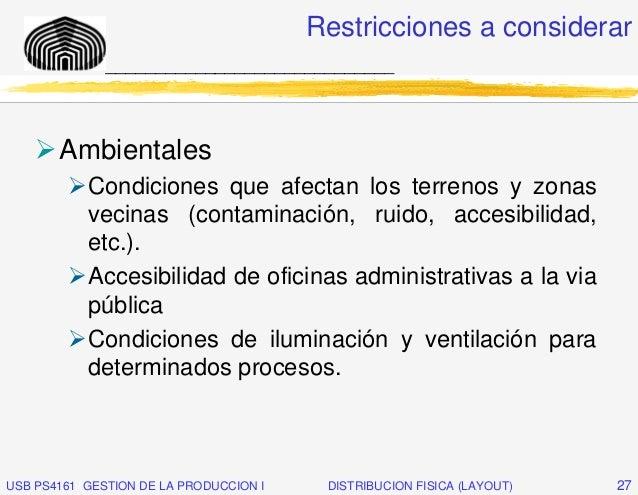 Restricciones a considerar              _____________________________       Ambientales           Condiciones que afectan ...