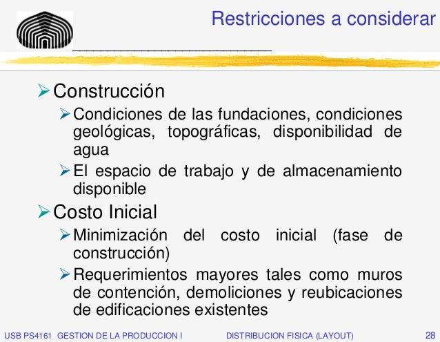 Restricciones a considerar              _____________________________          Construcción              Condiciones de la...