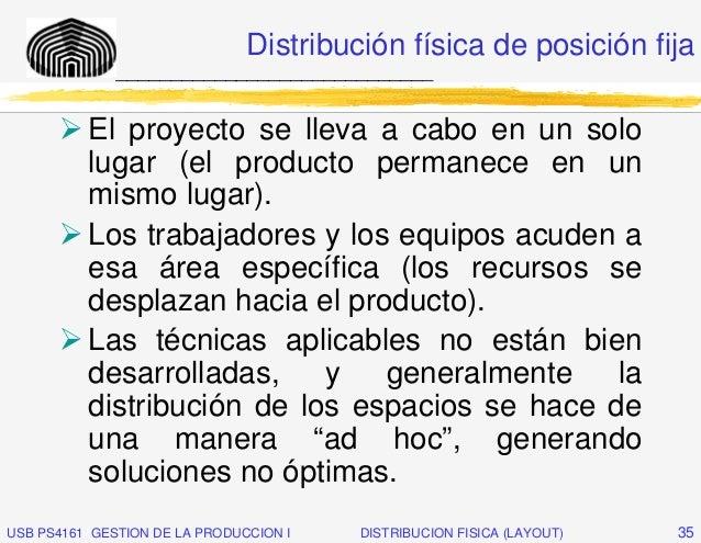 Distribución física de posición fija              _____________________________          El proyecto se lleva a cabo en un...