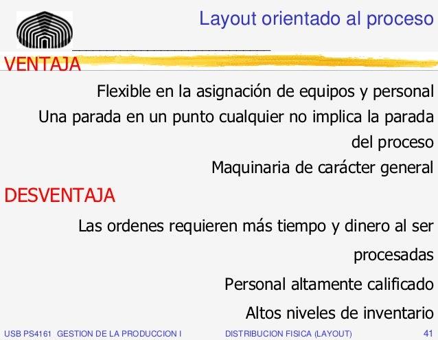 Layout orientado al proceso              _____________________________VENTAJA                   Flexible en la asignación ...