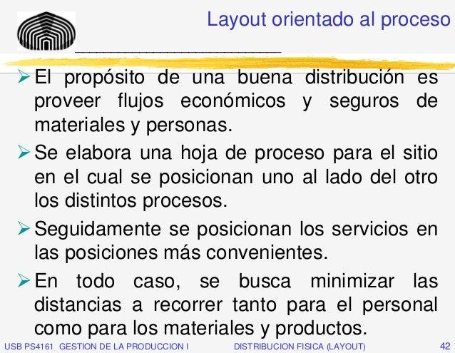 Layout orientado al proceso              _____________________________     El propósito de una buena distribución es     p...