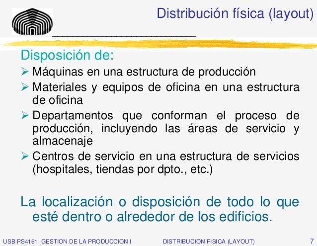 Distribución física (layout)              _____________________________     Disposición de:        Máquinas en una estruct...
